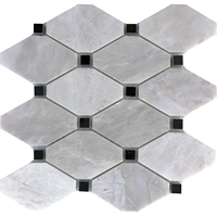 Diamond Mosaic Tile Whole Blanc Carrara Black Marble Polished Long Octagon Mosaic