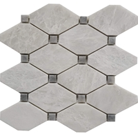 Diamond Mosaic Tile Whole Blanc Carrara with Grey Marble Polished Long Octagon Mosaic
