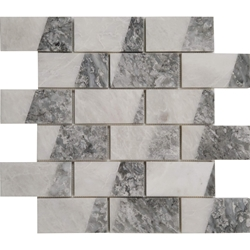 2 x4 Custom Design Mosaic Tile Whole Blanc Carrara Light Grey Marble